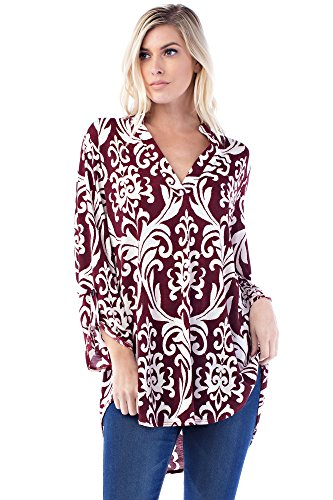 Betsy Red Couture Women's And Plus Size Soft Knit Notch Neck Tunic Top (1X, B3288X-WINE/WHITE (Beaded Knit Tunic)