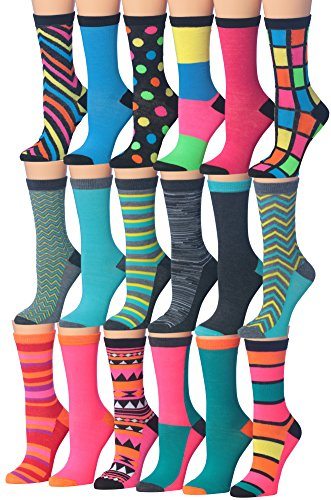 Tipi Toe Women's 18-Pairs Value Pack Colorful Super Classy Fashion Crew Socks (Block- Fasion)