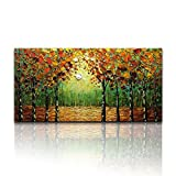 Desihum - Handmade Forest Landscape Oil Painting On Canvas Green And Yellow Wall Art Textured Tree Abstract Wall Art for Living Room Office Bedroom(24''x48'')