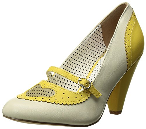 Pin Up Couture Poppy-18, Scarpe col Tacco Punta Chiusa Donna Yellow-cream Faux Leather