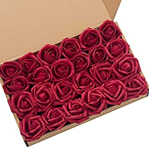 Ling's moment Artificial Flowers 2 inch Dark Red Artificial Roses and Rose Buds Pack of 24 for DIY Wedding Bouquet Boutonniere Corsage Floral Decor 39