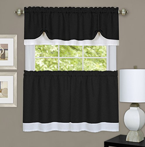 - Ben & Jonah Collection Darcy Window Curtain Tier and Valance Set 58x24/58x14 - Black/White