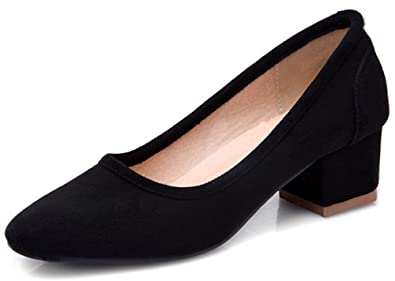 878303a70a4 Summerwhisper Women s Sexy Square Toe Low Cut Wide Work Shoes Block Mid Heel  Pumps Black 4