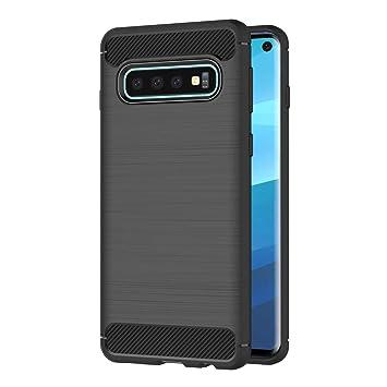 AICEK Funda Samsung Galaxy S10, Negro Silicona Fundas para Samsung S10 Carcasa Galaxy S10 Fibra de Carbono Funda Case