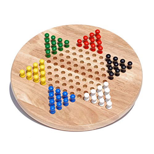 WE Games Solid Wood Chinese Checkers with Wooden Pegs - 11.5 inch ()