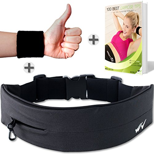 Winner Vibe Black Running Belt with Extra Large Pocket to fit iPhone X, 8 plus, Samsung 8 plus | Fitness, Jogging Belt for a Hands Free Workout | Elastic Unisex waist pack with phone holder (black) - Extra Plus Pack