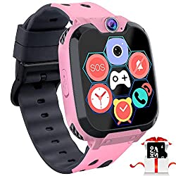 Kids Game Smart Watch Phone - 1.54 Touch Screen Game Smartwatches with [1GB Micro SD Card] Call SOS Camera 7 Games Alarm Clock Music Player Record for Children Boys Girls Birthday Gifts 3-10 (Pink)
