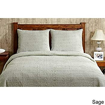 Image of 1pc 120 x 110 Oversized Sage Green Chenille Bedspread King, Drapes Floor Bedding Lightweight Textured Channel Striped Design Summer Classic Drapes Over Edge Hangs Down Sides Home and Kitchen