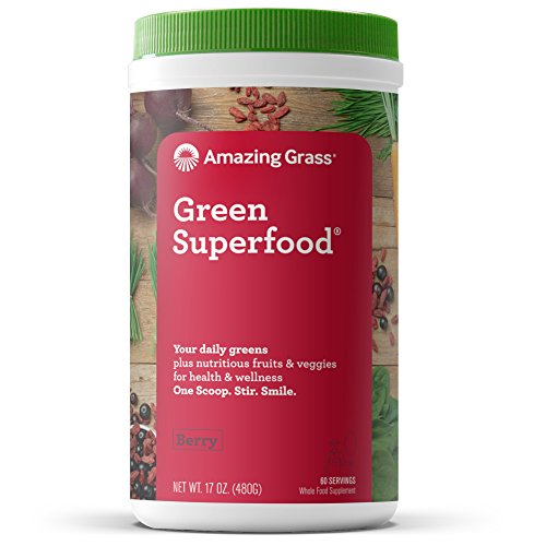 Amazing Grass Green Superfood: Organic Wheat Grass and 7 Super Greens Powder, 2 servings of Fruits & Veggies per scoop, Berry Flavor, 60 Servings