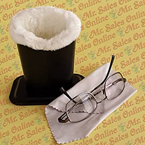 Black Plush Eyeglass Stand Holder, Protects and Stores Glasses with Cleaning Cloth