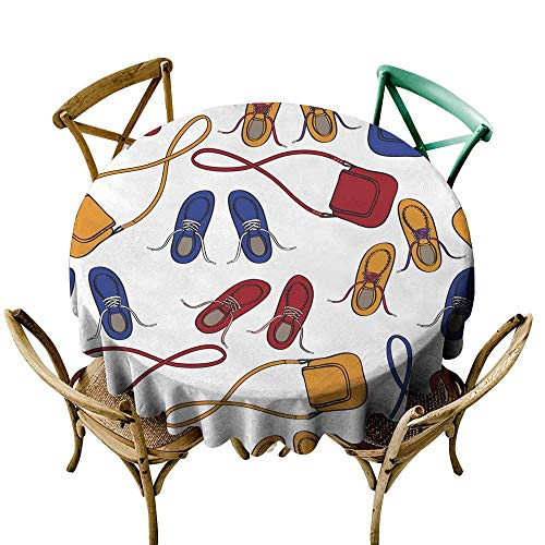 SKDSArts Wholesale tablecloths Colourful Array of Shoes and Handbags D54,Round Tablecloth