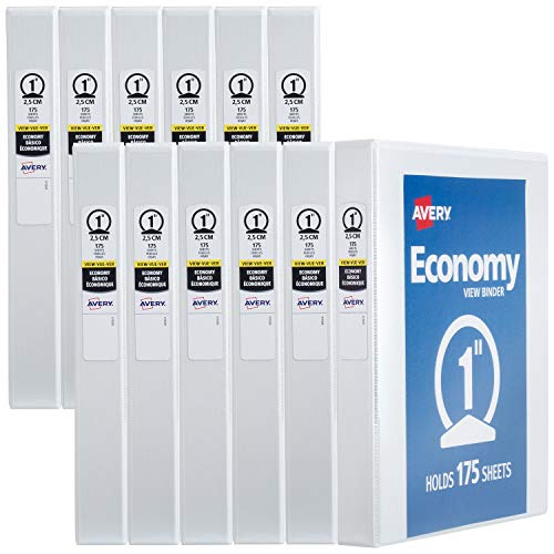 "Avery 1"" Economy View 3 Ring Binder, Round Ring, Holds 8.5"" x 11"" Paper, 12 White Binders (5711)"