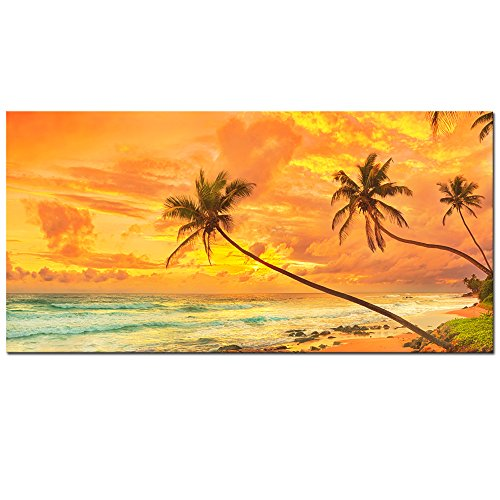 Sri Lanka Landscape (Sea Charm- Sunset over The Sea Panorama Picture Print on Canvas Amazing Sri Lanka Landscape Wall Art Gallery Wrapped Modern Home and Office Inner Wall Decorations -24