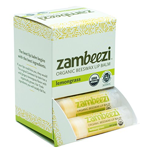 Case of Beeswax Lip Balm by ZAMBEEZI – Lemongrass 24-Tube Carton – Crafted with USDA Certified Organic, Fair Trade, Lip Refreshing Ingredients from Zambia, Africa