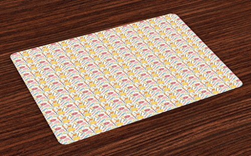 Lunarable Dessert Place Mats Set of 4, Yummy Candies and Lol