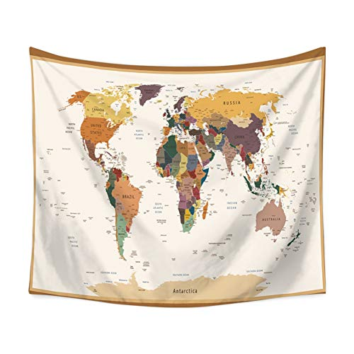 (Smartcoco World Map Tapestry Wall Hanging Tablecloth Beach Towel Blanket Picnic Yoga Mat for Home Dorm Decor Gobelin Wall Art, 59 x 51 inches)