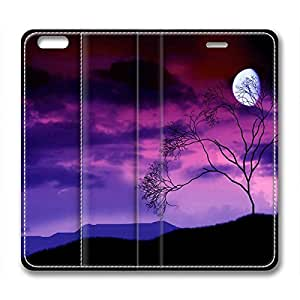 Artistic Night Scene of A Gibbous Moon in Sky with Purple and Pink Clouds DIY Leather iphone 6 Case