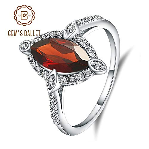 Simple Marquise - Marquise Natural Red Garnet Gemstone Ring | 925 Sterling Silver Fine Jewelry for Women (2.11ct)