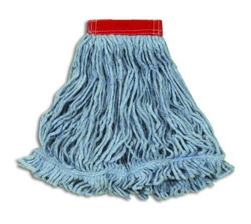 Rubbermaid Commercial Products Super Stitch Blend Mop, Large, 5-Inch Headband, Blue (FGD25306BL00) (Head Mop Premium Rubbermaid)
