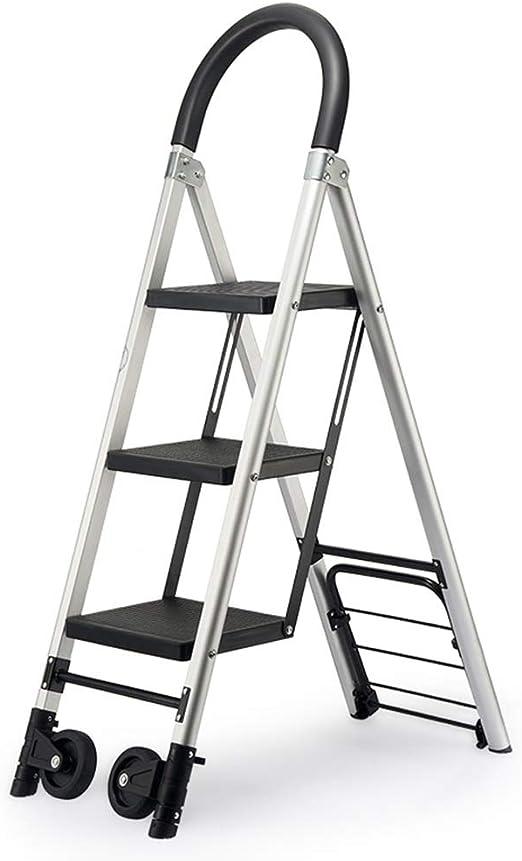 QIANGDA Carretillas Mano Escalera De 3 Pasos Multifunción Plegable con Ruedas Giratorias Aluminio Ligero - Carga 150kg: Amazon.es: Jardín