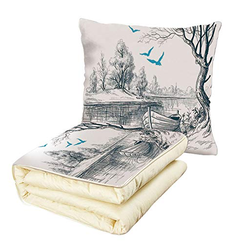 iPrint Quilt Dual-Use Pillow Lake House Decor Boat on Calm River Trees Birds Twigs Sketch Drawing Clipart Water Minimalistic Multifunctional Air-Conditioning Quilt White Gray Blue