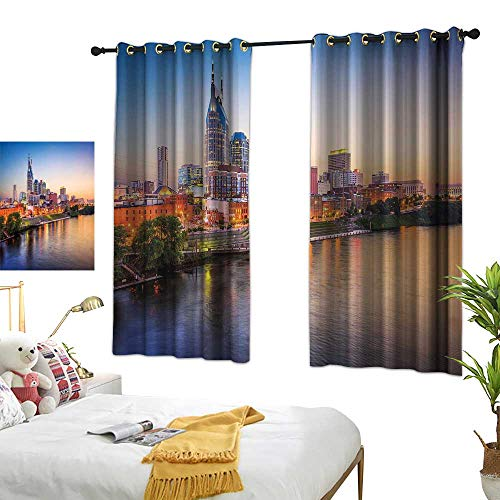 Bedroom Curtains United States,Cumberland River Nashville Tennessee Evening Architecture Travel Destination,Multicolor Living Dining Room Curtain 2 Panels Set W63 x L45