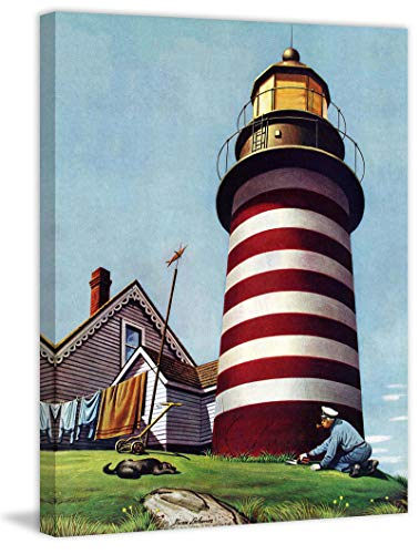 (Marmont Hill 52x40 Lighthouse Keeper by Stevan Dohanos Painting Print on Wrapped Canvas, 52