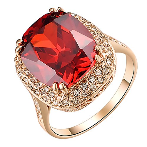 Yoursfs Halo Rings Red Austrian Crystal Ring for Women Fashion Ruby Cocktail Ring Jewellery Gift Size 7