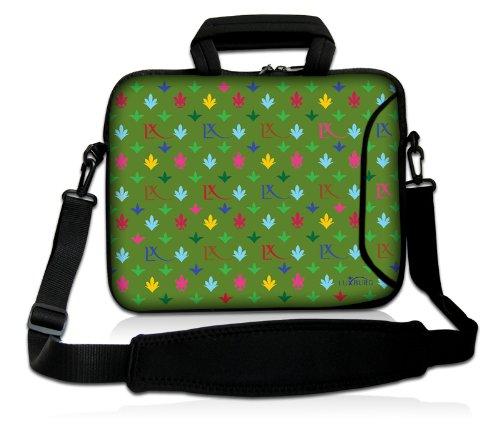Luxburg® Design Laptoptasche Notebooktasche Sleeve mit Schultergurt und Fach für 15,6 Zoll, Motiv: LX Muster grün