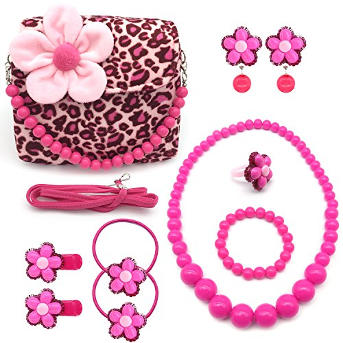 Elesa Miracle Little Girl Beauty Kids Plush Handbag + Flower-Shaped Earrings Rings Clips and Hair Ties + Necklace and Bracelet Set (Pink Leopard)