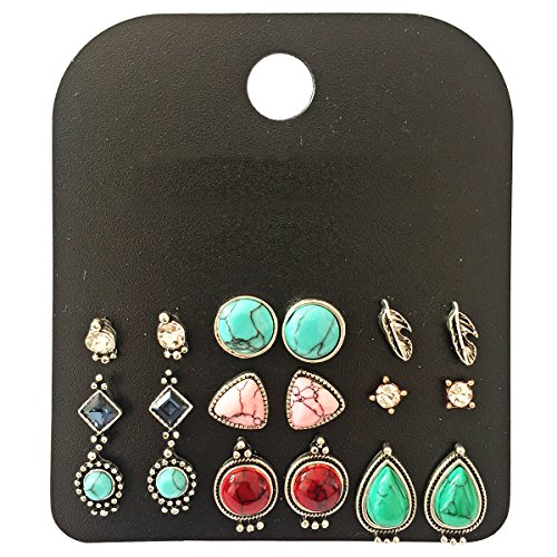 (9 Pairs Vintage Triangle/Teardrop/Round Turquoise Stud Earrings Set for Women Silver Plated)