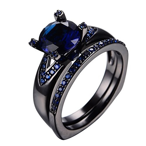 Bamos Jewelry Blue Stone Cubic Zirconia Black Gold Plated Rings Best Friend Engagement Wedding Womens Ring Set Size 10