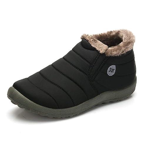 Uomo Donna Stivaletti Invernali Pelliccia Impermeabili Antiscivolo Scarpe  da Neve Caviglia Caldo Pantofole Sneakers Rosso Blu 35-48  Amazon.it  Scarpe  e ... 3fafa6e1cc3