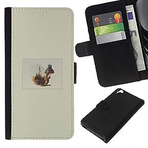 KLONGSHOP // Tirón de la caja Cartera de cuero con ranuras para tarjetas - Ardilla Forrest - HTC Desire 820 //
