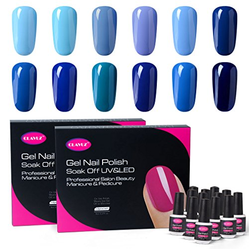 CLAVUZ Gel Polish Kit 12pcs Soak Off Blue Nail Polish Salon