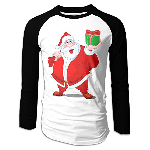 [Christmas Santa Claus Men T Shirt Tops Black L] (Lone Ranger Costume Shirt)