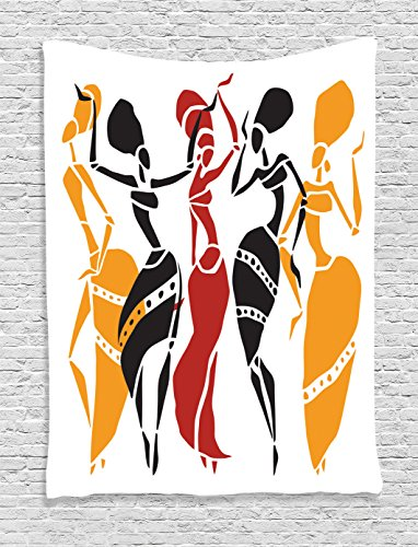 Ambesonne African Decorations Collection, African Lady Dancers Body Silhouettes in Motion Pose Exotic Characters Theme, Bedroom Living Room Dorm Wall Hanging Tapestry, Black Yellow Red ()