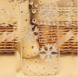 Free shipping 3D Bling Crystal Christmas Snowflake iPhone 4 / 4s Diamond Case Cover