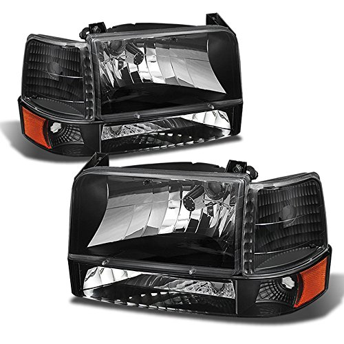ACANII - For 1992-1996 Ford Bronco F150 F250 F350 Headlights+Bumper Signal Corner Lamps Pair Driver + Passenger Side