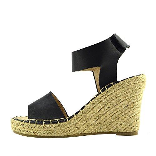 Hessian Footwear Damen Wedge Schwarz Kick Summer Sandalen High Knöchelriemen Damen Ferse F2250 Platforms TwCBxf8q