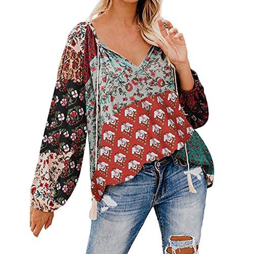 LENXH Women's Tops Floral Print Blouse V-Neck Shirt Pleated T-Shirt Fashion Blouse Casual Tees (Bernat Sweet Stripes)