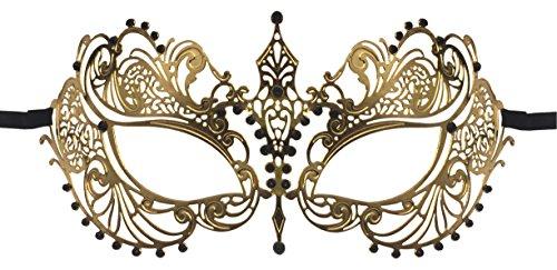 Luxury Mask Women's Laser Cut Metal Venetian Pretty Masquerade Mask, Gold/Black Stones, One Size