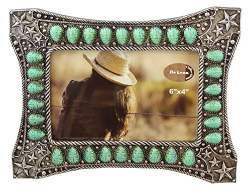 Decorative Western Picture Frame 4x6 Photo Faux Turquoise / Jade Silver Star