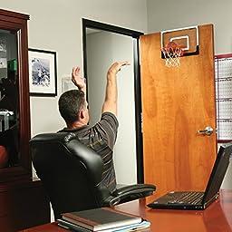 """SKLZ Pro Mini Basketball Hoop W/ Ball. 18""""x12"""" Shatterproof Backboard."""