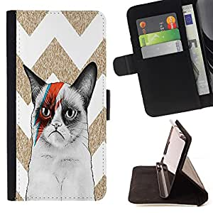 - Chevron Grumpy Cat - - Premium PU Leather Wallet Case with Card Slots, Cash Compartment and Detachable Wrist Strap FOR Samsung Galaxy S4 IV I9500 i9508 i959 King case
