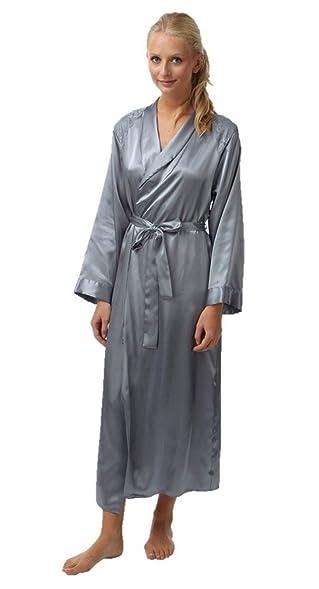Ladies Womens Satin Kimono Silk Robe Wrap Dressing Gown Nightwear at ...