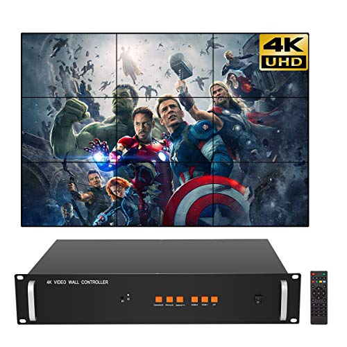 3X3 4K Video Wall Controller for 9 LCD TV Wall Splicer Support HDMI DP 3840x2160@60HZ Input Definition UHD Image Processor 1x2,1x3,2x3,3x3 (Television Input Selector)