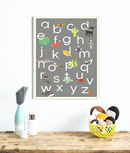 English Alphabet Children's Wall Art Print 24x36 Inch Print,
