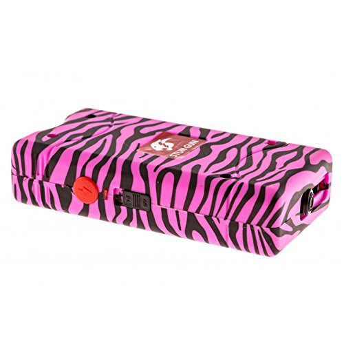 Cheetah-Stun-Pink-Zebra-Print-10-Million-Volt-Rechargeable-Compact-Stun-Gun-Flashlight-Combo-with-Built-in-Charger-and-Nylon-Carrying-Holster-Case