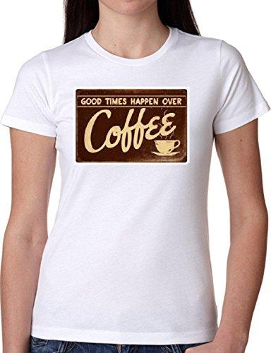 T SHIRT JODE GIRL GGG22 Z1271 GOOD TIMES HAPPEN OVER COFFEE VINTAGE FASHION COOL BIANCA - WHITE XL